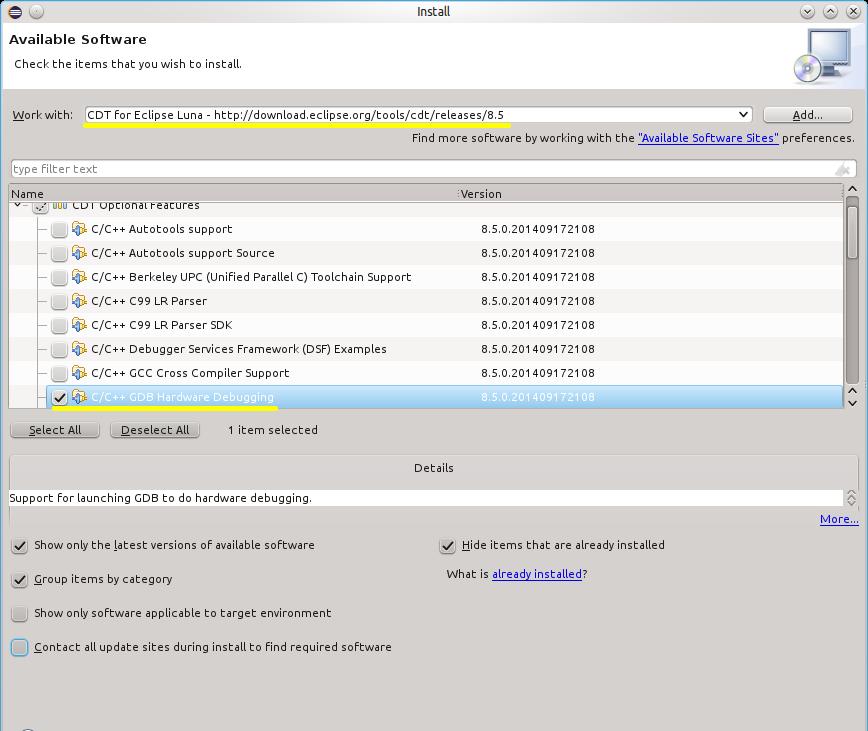 Разработка и отладка для STM32F4Discovery в Ubuntu Linux: Eclipse